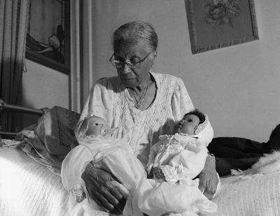 Grandma Ruby Holding Her Babies Series: The Notion of Family, 2003.  LaToya Ruby Frazier, American, born 1982. Gelatin silver print, 18 3/8 x 24 in. Image courtesy of Seattle Art Museum.