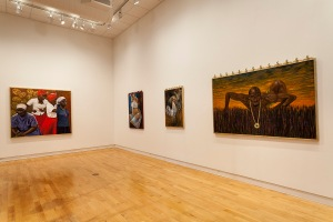 Ulric Joseph's paintings on display at the 2014 Pittsburgh Biennial at the Miller Gallery of Carnegie Mellon University. Image courtesy of Tom Little Photography.