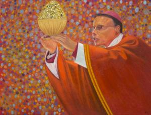 The Bishop of Bling, a painting by Ulric Joseph. Part of the Bling Bias series. 2014.