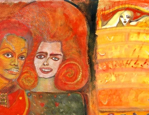 """Chuka Susan Chesney, """"Brooke, Michael, and the Lady in the Mirror.""""  Image courtesy of the artist."""