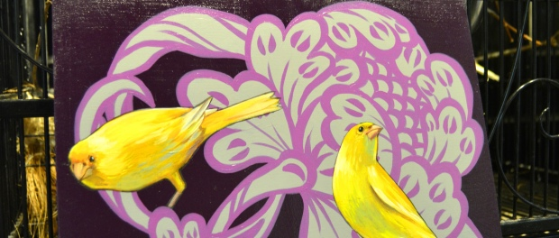 Ashley Cecil, Canaries on Purple painting