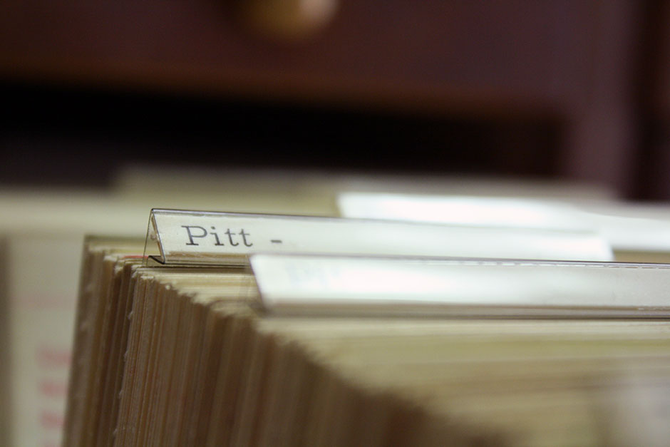 "Card catalogue tab ""Pitt- """